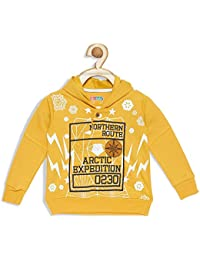 Kids Sweater for Boys Yellow Sweatshirt Printed Jacket for 6 Months Baby to 3 Years Child, Long Sleeves, Pull Over Buttoned, Fleece Fabric by Kid Studio