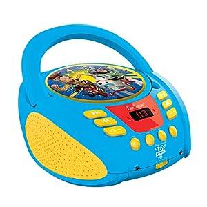 LEXIBOOK- Toy Story, Disney Pixar-Lector Radio CD, Altavoz portátil Aux-In y Toma para micrófono, Funciona con Cable AC o con Pilas RCD108TS, Color Azul/Amarillo (