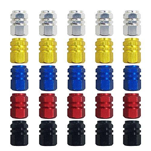 Finegood della valvola 25pezzi di plastica, tappi antipolvere per valvole pneumatici auto, moto, camion, bici, bicicletta prevenire perdite d' aria–oro, argento, rosso, blu, nero
