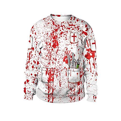 XIXICLOTHES Halloween Kostüme für Erwachsene 3D Horror Pullover Mantel Cosplay Kostüme Sweatshirt,1,L (Kostüm Für Erwachsene Sweatshirt)