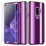 NALIA 360 Grad Handyhülle kompatibel mit Samsung Galaxy S9 Plus, Full-Cover & Schutzfolie vorne hinten Hülle Doppel-Schutz, Dünn Ganzkörper Case Handy-Tasche, Bumper & Displayschutz, Farbe:Lila