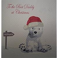 Cotone bianco Cartoline per l'orso polare migliori papà Borse Natale Card Design