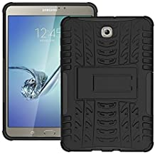 DWay Custodias Tab S2 8.0 T710 Hybrid Armor Design with Stand Feature Detachable Dual Layer Protective Shell Hard Back Cover Custodias per Samsung Galaxy Tab S2 8.0inches SM-T710 / T715 (Black)