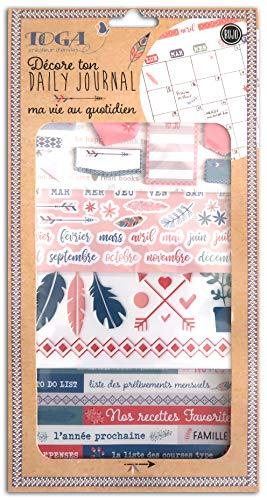 Toga Ma Vie Au Quotidien Zubehör-Set Bullet Tagebuch, Papier/Kunststoff, Grün-Brosa-Rosa, 15,8 x 30,5 cm