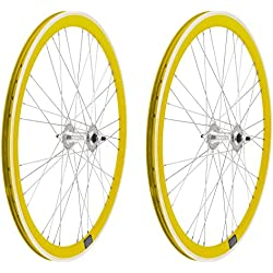 2x Llanta Rueda para Bicicleta Fixed Fixied de 700 Aluminio CNC MECANIZADO Piñon Fijo Color AMARILLO 3750amarillo