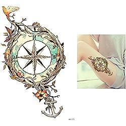 Tattoo ancla Brújula Multicolor/Colores falso tatuaje Tattoo adhesivos para desechables para cuerpo hb573resistente al agua