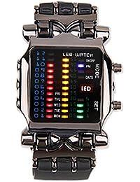 YESURPRISE Herrenuhr Binary LED Leder Armbanduhr Herren Uhr Xmas Geschenk Watch Gift montre de poche
