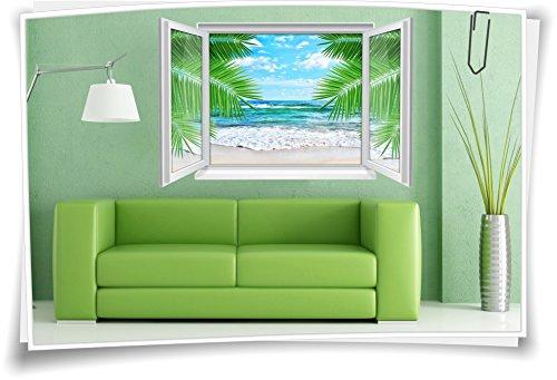 3D Fenster Wandbild Wandtattoo Aufkleber Strand Meer Palmen Sand SPA Wohnzimmer, 120x80cm (Fenster Aufkleber Palmen)