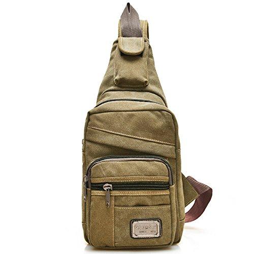 Minetom Unisex Freizeit Schultertasche Taschen Lapidar Brust Sling Bag Tornistertaschen Umhängetasche Reißverschluss Messengerbag Khaki