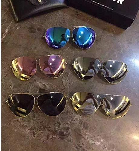 BHLTG Sonnenbrille für Männer und Frauen Mode paar Modelle Retro große Sonnenbrille Retro Froschspiegel Trend Fahrer Spiegel-1 fahren