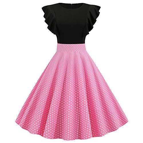 ZHJA Europäischen Und Amerikanischen Frauen Retro Ärmel Sommermode Sexy Print Kleid -
