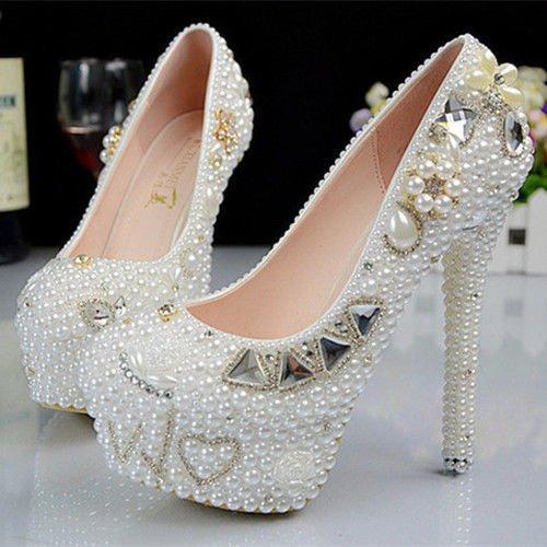 JINGXINSTORE Fatte a mano bianco perla Wedding club di ballo scarpa tacco alto sera 14CM/5.5INCH