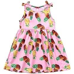 Sencillo Vida Vestido Niñas, Vestido Bebe Niña, Vestido de Princesa Sin Mangas Floral Impresión, Primavera Verano Ropa para 1-3 Años, Piña