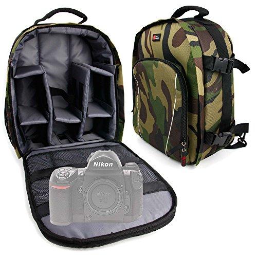 DURAGADGET Mochila Camuflaje para Cámara Nikon FAA410NA   N1 AW1   Olympus E-PL7 (1442)   Zenit E Cámara con Compartimentos Desmontables + Funda Impermeable