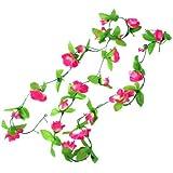2,5 m, colore: verde foglie di rose artificiali in tessuto, fucsia, con Bouquet di fiori