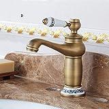 AXWT Europäischen Stil Kupfer Antike Wasserhahn Schwarz Antike Gebürstet Heißer Wasserhahn Küche Über Counter Basin Tap (Color : D)