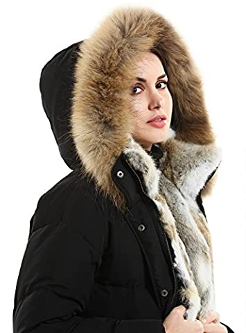 Escalier Women's Down Coat Fur Collar Down Parka Removable Fur Hooded Long Parkas