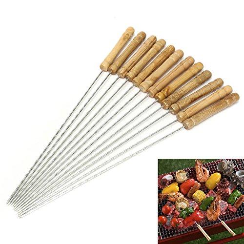 12 PCS BBQ Kebab Spieße - Holzgriff Edelstahl Metallspieße - 30 cm Wiederverwendbare Twisted Metal Kabab Sticks für Barbecue & Kochen (Type 1)