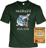 Angler Funtshirt - Farbe: Grün Angelgott - Petri Heil! - Tshirt mit Urkunde!