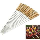 Barbacoa kebab pinchos–acero inoxidable y mango de madera Metal brochetas para barbacoa–30cm reutilizable trenzado Metal Kabab Sticks para barbacoa y cocina, Type 1