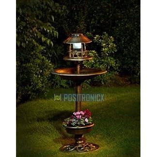 Baignoire d'oiseaux 3-en-1 avec mangeoire, lampe solaire et jardinière