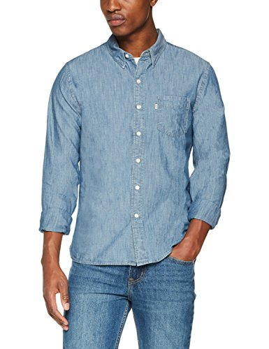 Levi's sunset 1 pocket shirt, camicia in jeans uomo, blu (chambray indigo 0345), large