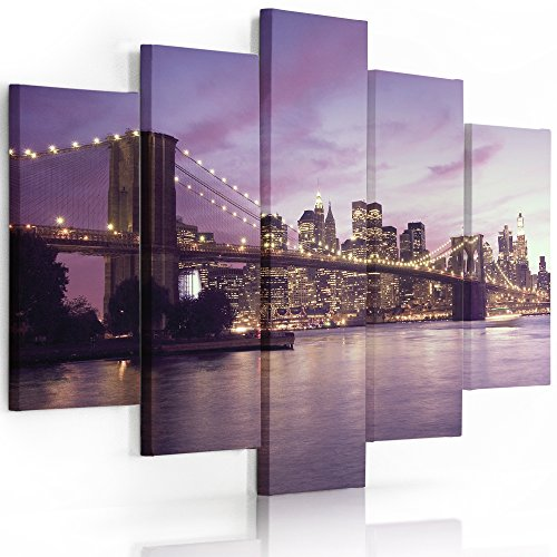 Feeby frames, quadro multipannello di 5 pannelli, quadro su tela, stampa artistica, canvas (new york, manhattan,porpora) 100x150 cm, tipo a