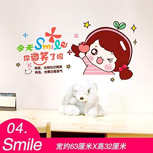 MEIWALL Chevet 3D Girl Teenage Coeur Smiling Stickers muraux amovibles pour enfants chambre d'enfant chambre salon cuisine enfants chambre mur art décor autocollant