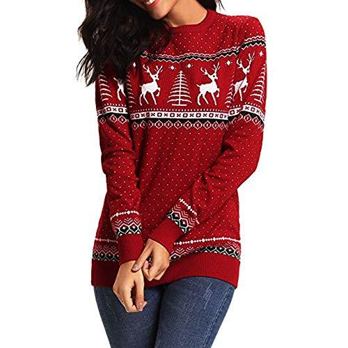 MYMYG Weihnachten Sweatshirt Frauen Zipper Dots Print Tops Kapuzenpullover Pullover Bluse T-Shirt Winter Szene Bluse Baggy Jumper Lose Top Oversized Winterpullover