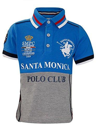 Socks Uwear Polo T Shirt Santa Monica Bingham maglietta colletto Casual Bambini Top Sapphire Blue 4-5 Anni