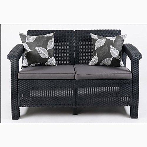 JUSTyou Corfu Sofa Couch Gartenbank Rattan 2-Sitzer Sofa Anthrazit Grau