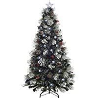 WeRChristmas Pre-Lit Fibre Optic Multi-Function Christmas Tree with Tree Topper, Frosted, 7 feet/2.1 m