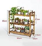 ZENGAI Blumentopf Rack Regal Eckrahmen Massivholz Lager Pflanze Ausstellungsstand 2/3/4 Tiers, 6 Größe (Farbe : 90x30x85cm)