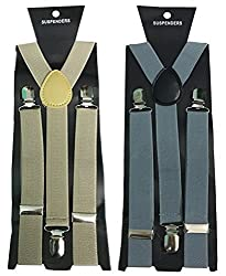 Atyourdoor Y- Back Suspenders for Men(BrownGreysus2)