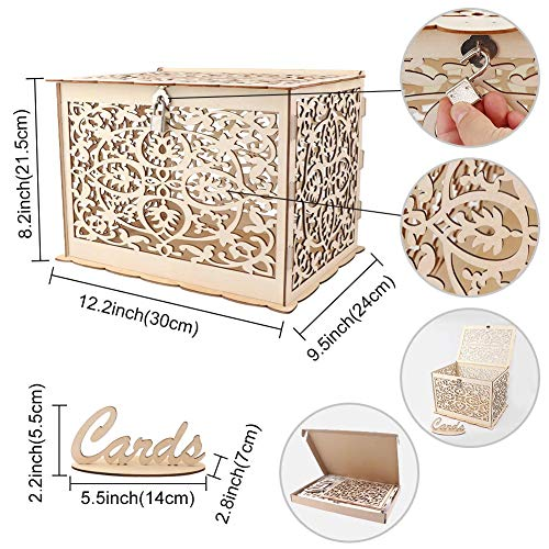 Aparty4u Wooden Wedding Card Post Box with Lock, Collection Gift Card Boxes for Vintage Weddings Receptions Birthdays Graduations Baby Showers Décor, 30 x 24 x 21 cm