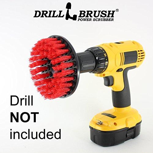 Drillbrush Red Heavy Duty Reinigungsbürste mit steifen Borsten rot (Birdbath Stein)