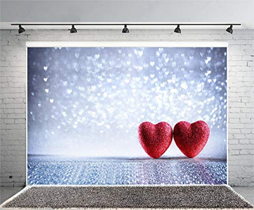 EdCott 7X5ft Fotografie Hintergrund Valentines Karte Zwei glänzende Herzen silbernem Bokeh Herzen Hintergrund rote Herzen Foto schießen Video Liebe Thema Liebhaber Mädchen Baby (Für Valentine Karten Schule Die)