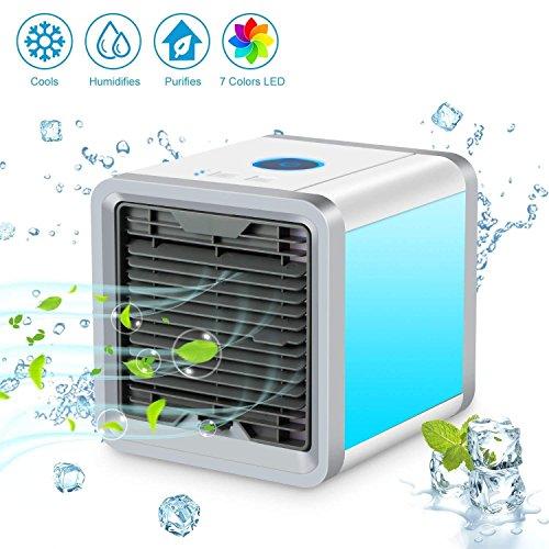 Climatizador Evaporativo, Aire Acondicionado Ventilador Mini Móvil Enfriador Aireador Humidificador Purificador de Aire Portátil USB 3-en-1 Portátil Aire Acondicionado [Sin Freón & Respetuoso del Medio Ambiente] para Casa/Oficina/Camper/Garaje (Blanco)