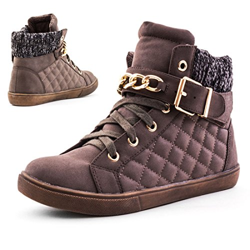 Damen High Top Schnür Sneaker mit Kette in Stepp-Lederoptik Grau/Khaki