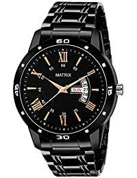 Matrix Premium Day & Date Black Dial Watch for Men's & Boys (DD-53)