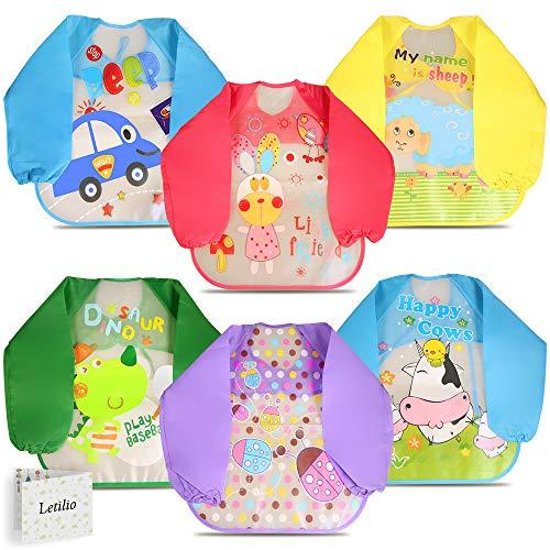 Letilio Baberos - 6 pcs Impermeable delantal de bebé unisexo EVA con manga larga para 6 meses a 3 años edad
