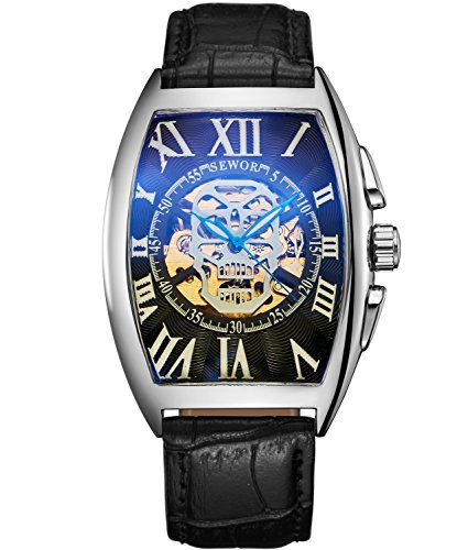 Sewor Luxury Mens Skull Head Automatic Mechanical Wrist Watch Leather Band Glass Coating Blue (Silver Black)