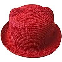 Baby Cap Niño Chica sombrero tapas Niños Verano sombrero tapas Niños Sombrero Sombrero de paja Breathable Niños Sombrero Joven Chica sombrero tapas, rojo, small