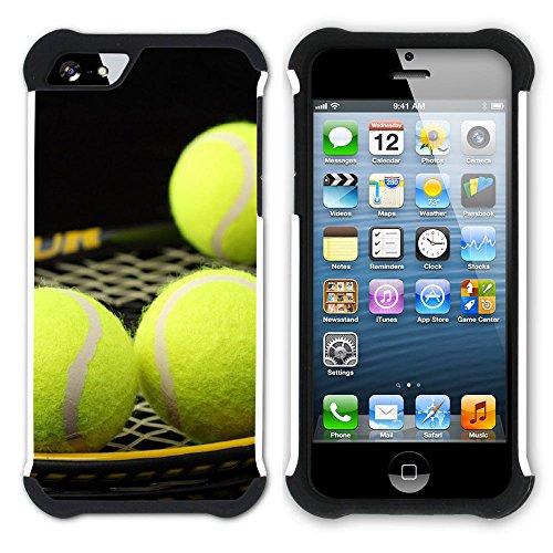 Graphic4You Tennis Ball Sport Hart + Weiche Kratzfeste Hülle Case Schale Tasche Schutzhülle für Apple iPhone SE / 5 / 5S Design #6