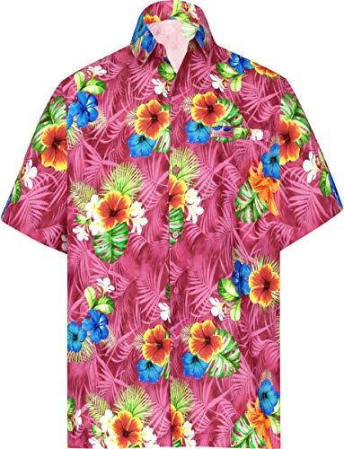 LA LEELA Beach Hemd männer Hawaiihemd Kurzarm Button Down Kragen Fronttasche Beach Strand Hemd Manner Urlaub Casual Herren Aloha 5XL Rosa_W578 - Mantel 5x Winter Herren