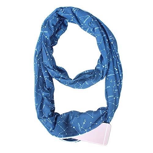 Reißverschluss Pocket Loop Schal Frauen Mode Herbst Winter Weiche Warme Liebhaber Star O Ring Storageschals Ladies Infinity Scarfs,Blue