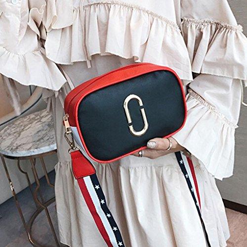 Longra le donne di colore crossbody graffetta nastro singolo borsa Nero