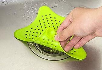 2pcs Set of Star Design Silicone Rubber Kitchen & Bathroom Sink Filter Colander Strainer for Waste Stopper Hair Catcher (Random colours)