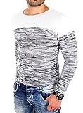 Reslad Männer Oberteil Feinstrick Rundhals Color Block lässige Herrenoberbekleidung Pullover Large RS-3124 Ecru Weiß L