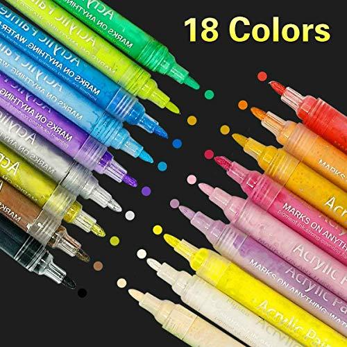 SUPERSUN 18 Farben Holz Stifte Wasserfest, Acrylstifte Wasserfest Acryl Farben Set Acrylstifte für Leinwand, Steine Bemalen, Fotoalbum, Glas, DIY-Handwerk